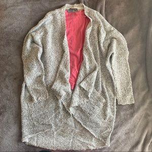 Marled Grey Boucle Drape Front Cardigan